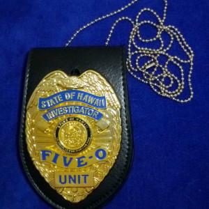 Hawaii Five-O Polizeimarke mit Lederhalter