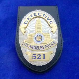 L.A.P.D. Detective Polizeimarke mit Lederhalter